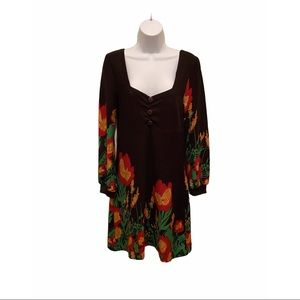 Funky People Square Neck Floral Sweater Dress